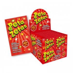 Peta zetas, caramelo de fresa en caja con 50 unidades. El caramelo que generará una sensación única!