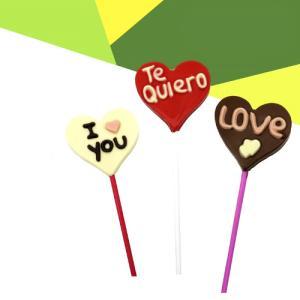 Piruleta Corazon chocolate con leche, Blanco, Rosa de 26Gr.