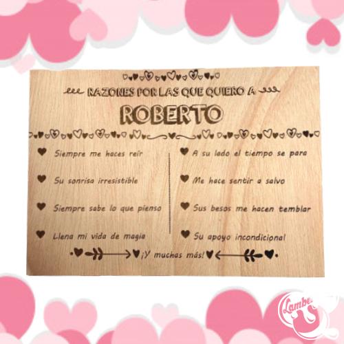 """Carta de madera """"Razones por las que te quiero"""""""