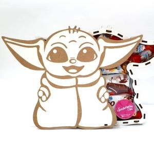 CAJA 3D, Yoda, Bebe Yoda, Yoda, KINDER, REGALO DULCE, REGALO ORIGINAL, Gominolas
